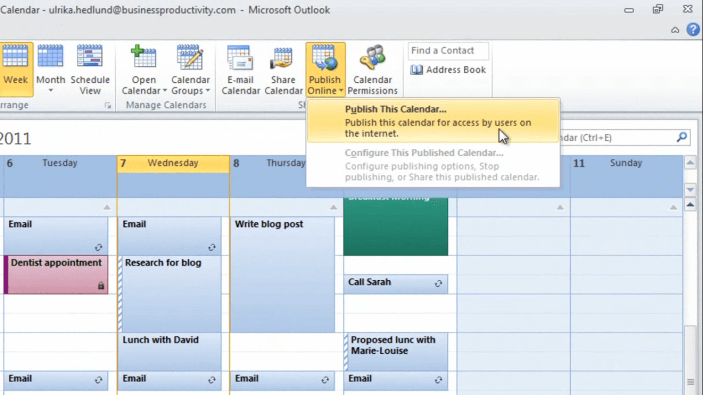 How to share your calendar with external business partners