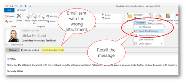 Recall This Message button | © Business Productivity
