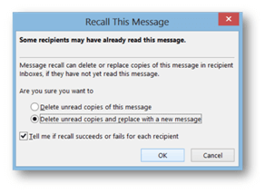 Recall This Message dialogue box | © Business Productivity