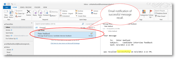 Email notification successful message recall | © Business Productivity